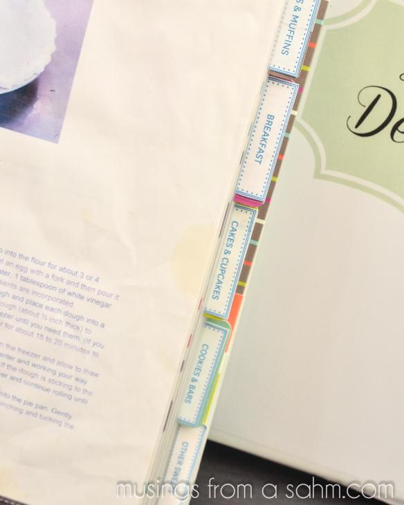 labeled recipe binder