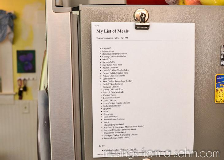 meals list