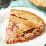 slice of strawberry rhubarb pie