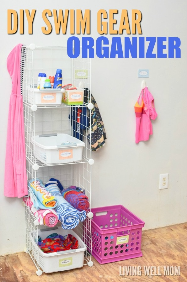 Say good-bye to piles of wet towels and swimsuits this year with this simple DIY swim gear organizer for kids! This handy easy-to-make organizer makes it easy to keep everything in one place, from sunscreen and swim diapers to beach towels and swimsuits. Get the how-to here: