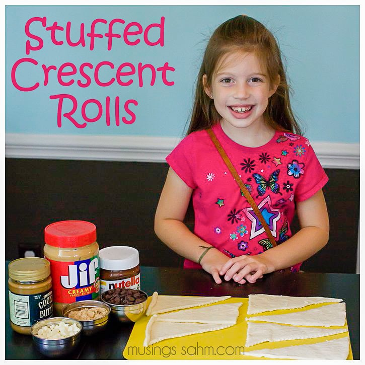 Stuffed Crescent Rolls for Kids - This simple recipe is such a fun easy way to get the kids cooking. The whole family will enjoy these treats too!