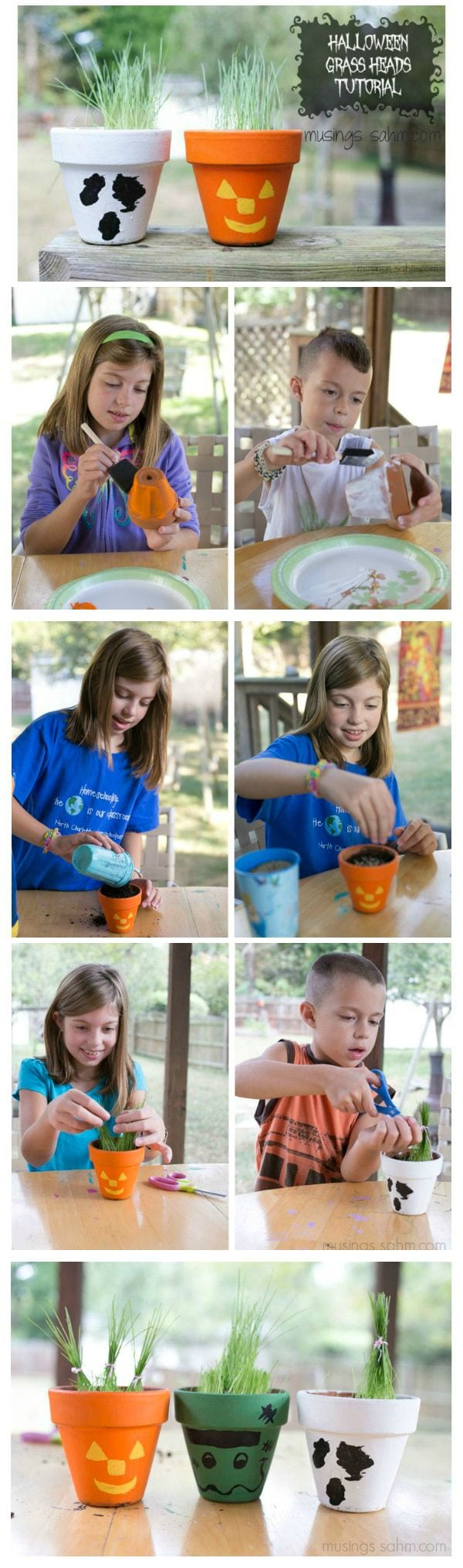 Kids will love making their own scary pot with this fun Halloween Grass Heads activity, then planting and caring for their grass. Once it's grown, they can cut it and tie the grass into fun styles!