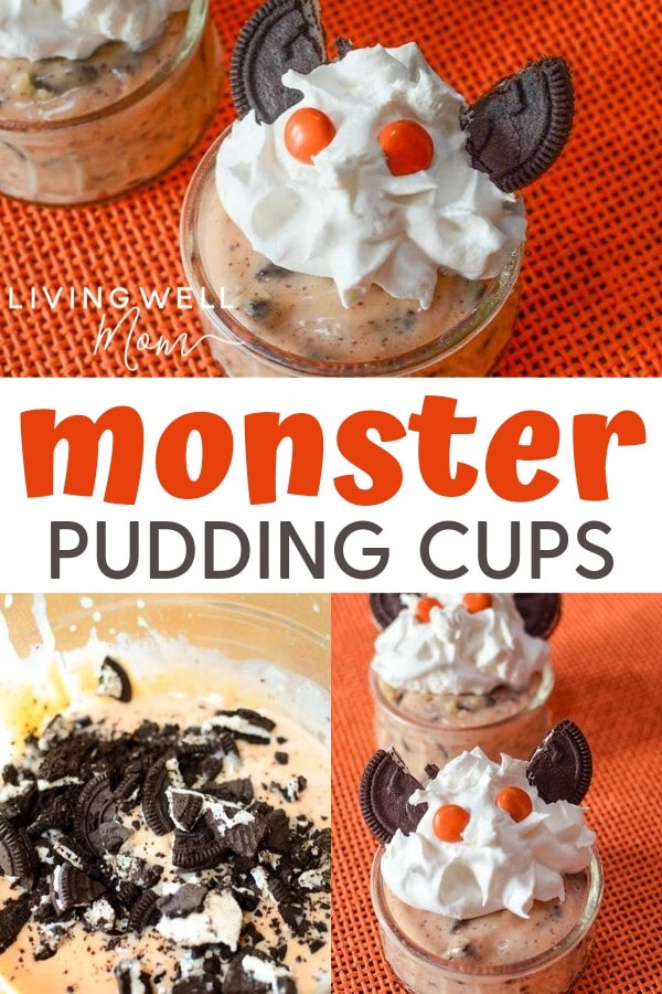 monster halloween pudding cups