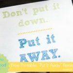 "Free Printable: ""Don't Put it Down; Put it Away"" Poster"