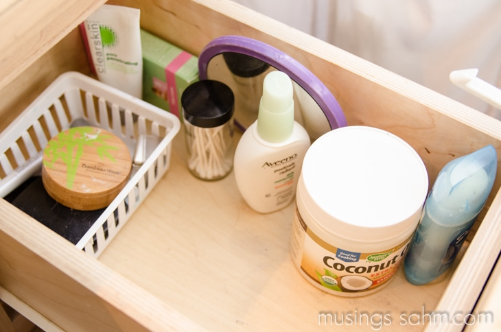 makeup drawer organized