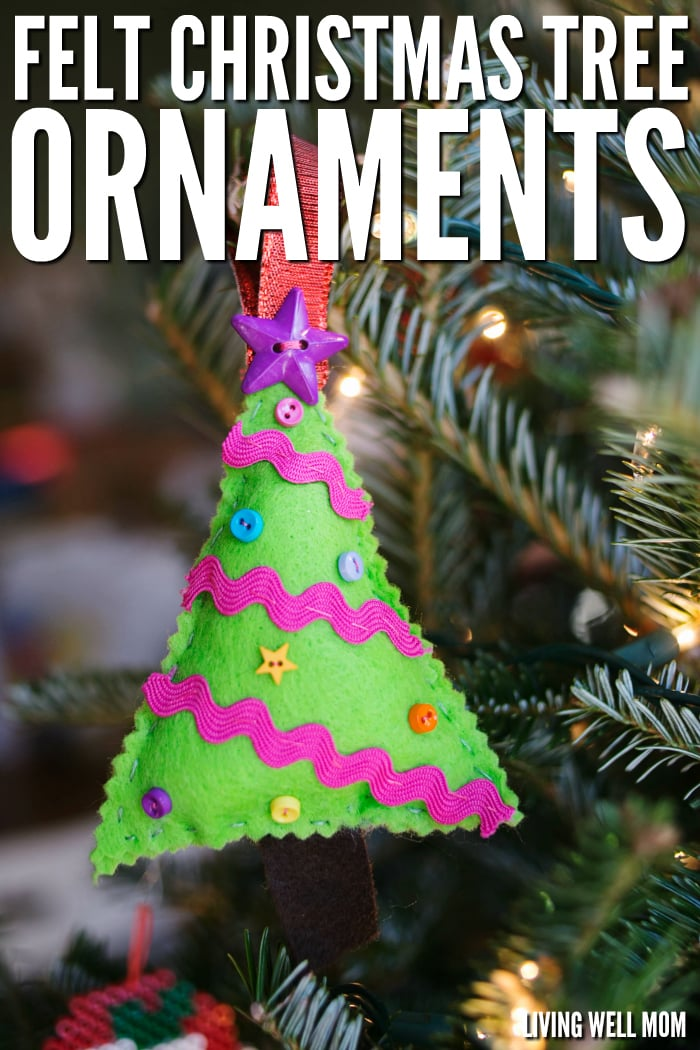Felt Christmas Tree Ornaments are a perfect first sewing project for kids as young as 4