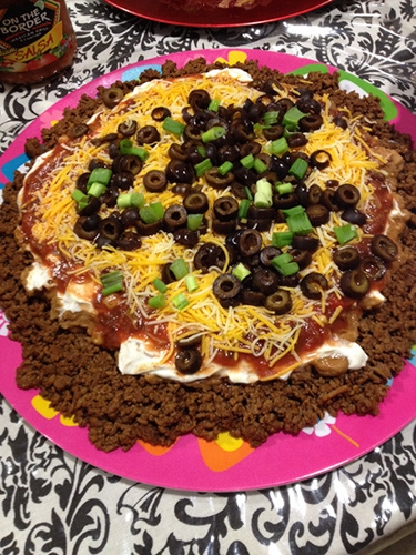 12.) Layered Taco Dip – Mother of Pearl It Is