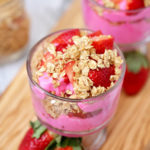 Easy Valentine's Day Trifle recipe for kids - with yogurt, granola, and strawberries, this festive treat is perfect for a fun valentine's day snack or even breakfast. It's quick and easy to make and best of all, a healthier alternative to candy!
