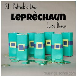 DIY St. Patrick's Day Leprechaun Juice Boxes