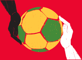 Soccer ball with hands_horz