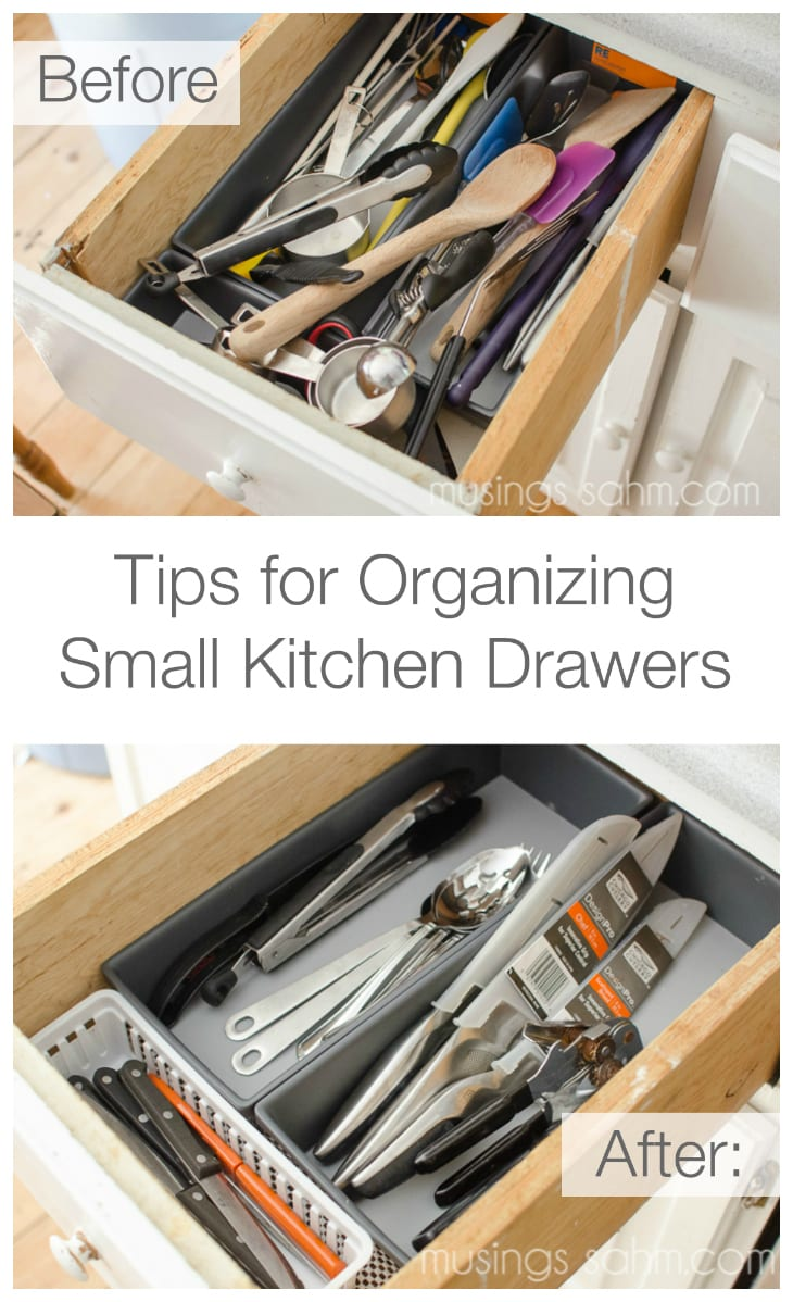 A few simple tips for organizing small kitchen utensil drawers - super easy and super cheap DIY organization idea!