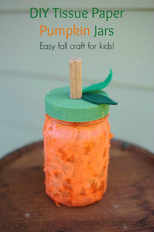 DIY Tissue Paper Pumpkin Jars - a fun, easy fall craft for kids using mason jars #crafts #pumpkins