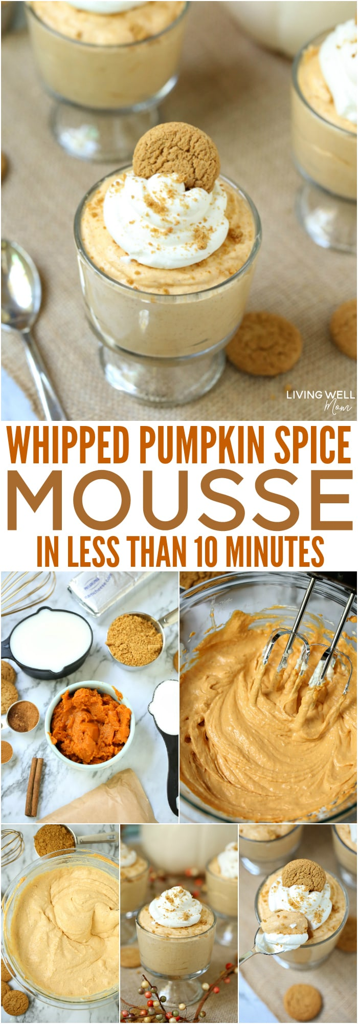 collage of image showing the process of making a whipped pumpkin spice mousse