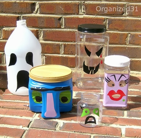 jars turned into halloween faces