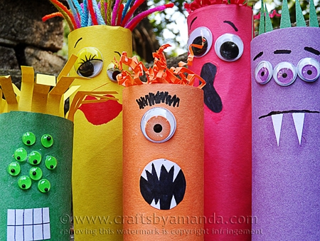 ghouls made out of cardboard tubes