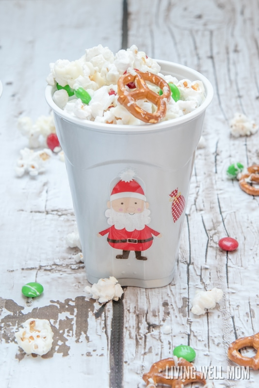 simple DIY decorated holiday snack cups with 5-Minute White Chocolate Popcorn recipe