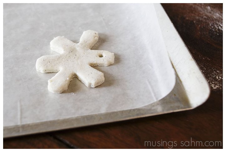 Unbaked glitter salt dough snowflake
