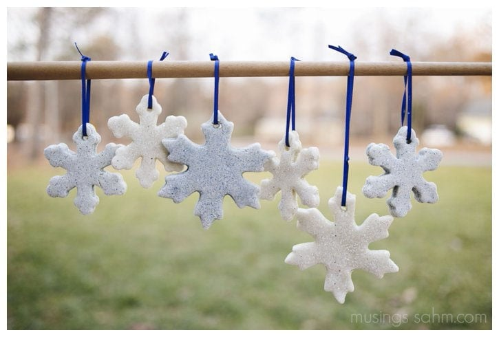 FUn tutorial for making Glitter Salt Dough Snowflakes