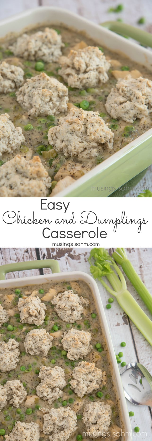 Chicken and Dumplings Casserole: loaded with chicken and veggies in a savory sauce seasoned with basil, the homemade biscuits add the perfect touch to this favorite family meal.