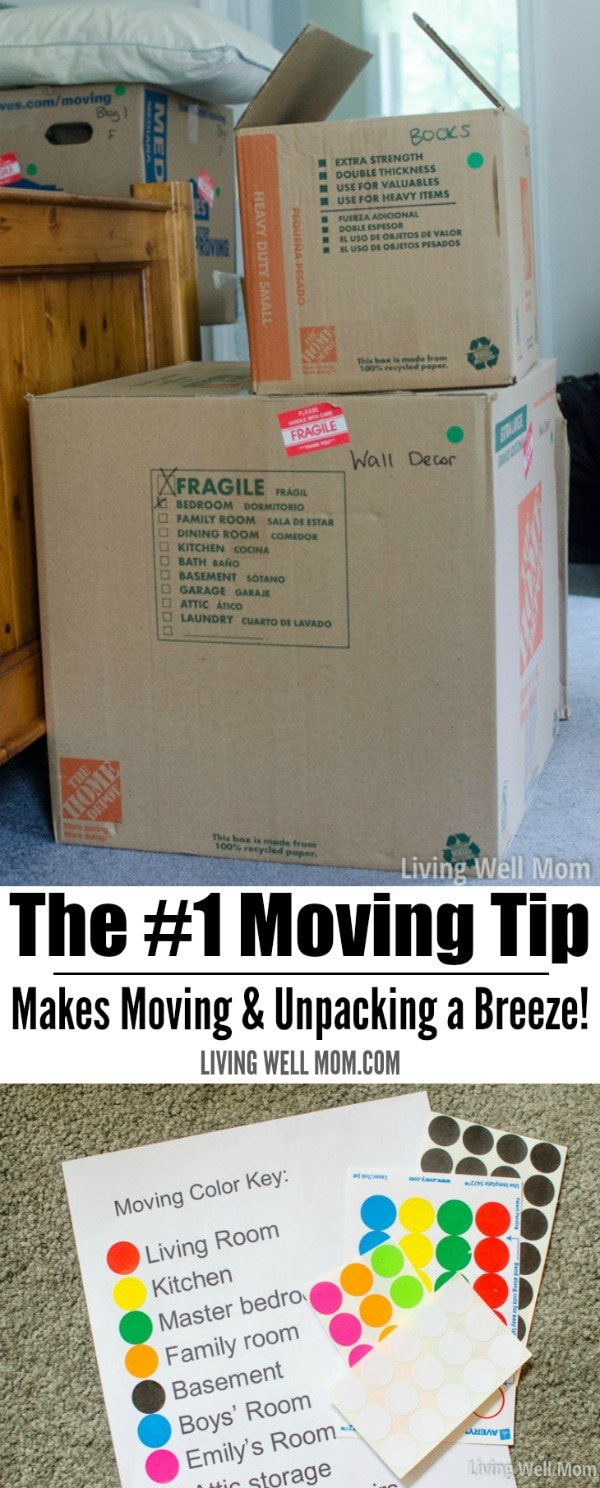 Moving boxes stacked on top of one another, with green stickers, alongside coordinating list of color coded rooms.