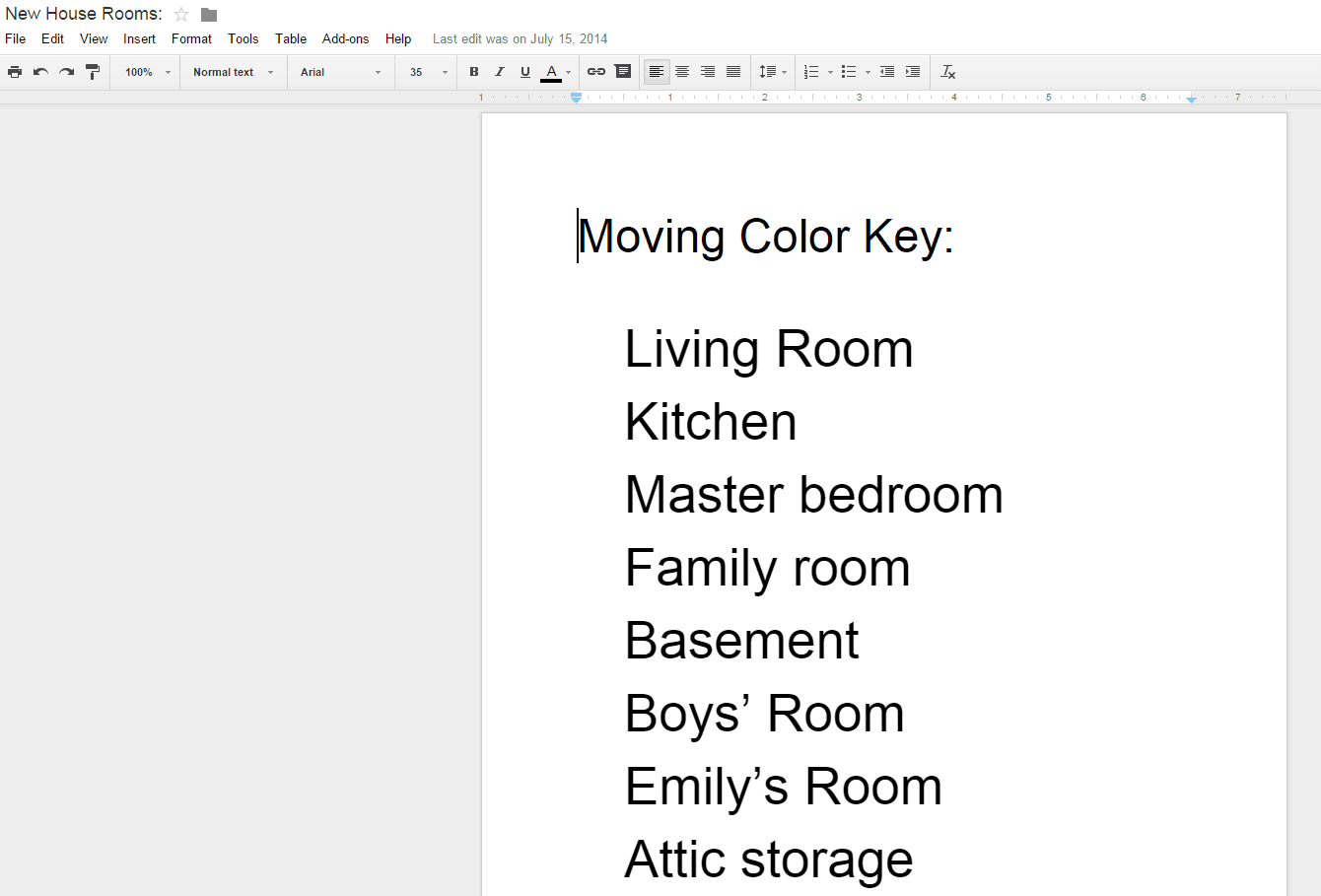 New House Rooms Google Docs
