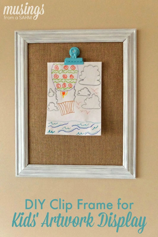 Diy clip frame for kids 39 artwork display living well mom for Picture frame with clips diy