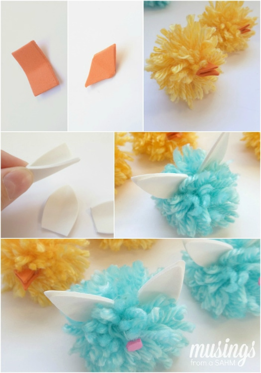 DIY Pom Pom Chicks and Bunnies with an upcycled wipes bin as storage & a fun Tic Tac Toe game board!