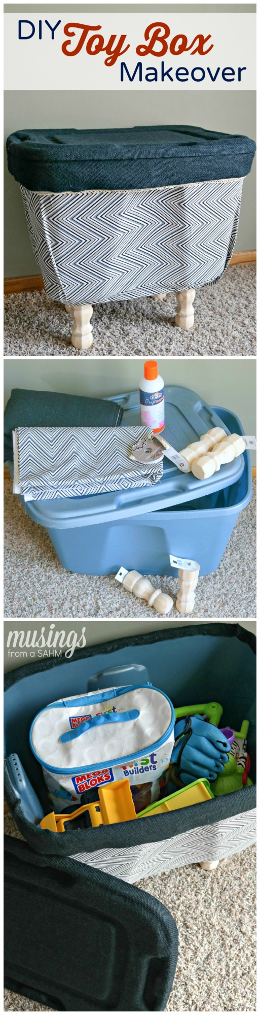 DIY Toy Box Makeover: How to turn an ugly plastic bin into a decorated toy box!
