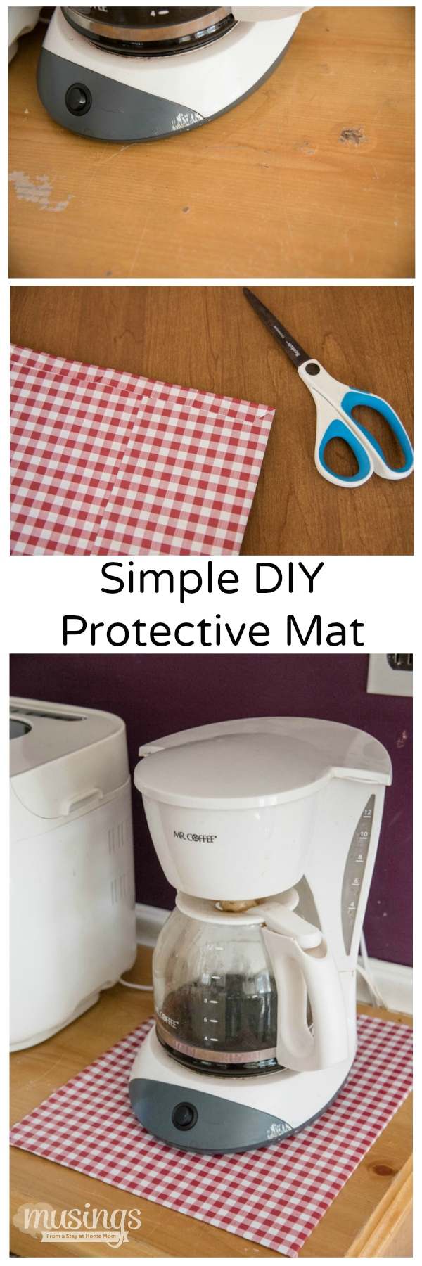 Protect surfaces with this simple DIY protective mat - it's easy to make yourself - in any size or shape you need, plus it's decorated too!