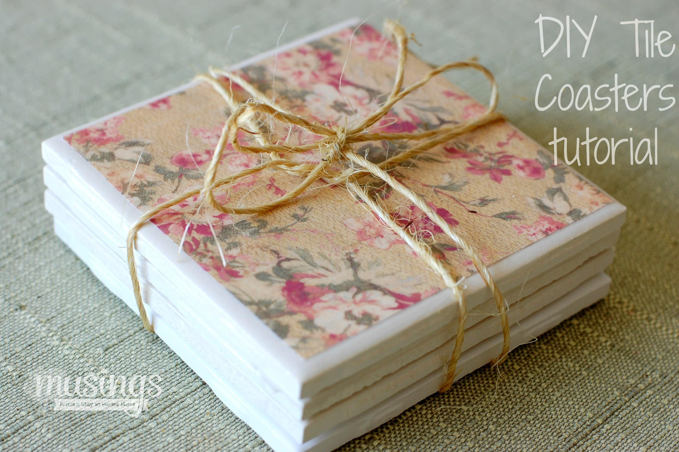 Diy tile coasters tutorial living well mom for Homemade coaster ideas