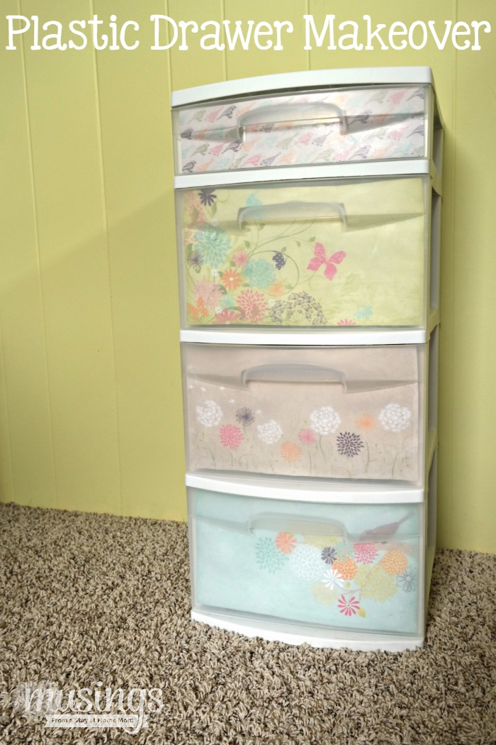 Plastic drawer makeover musings from a stay at home mom for Plastic craft storage drawers