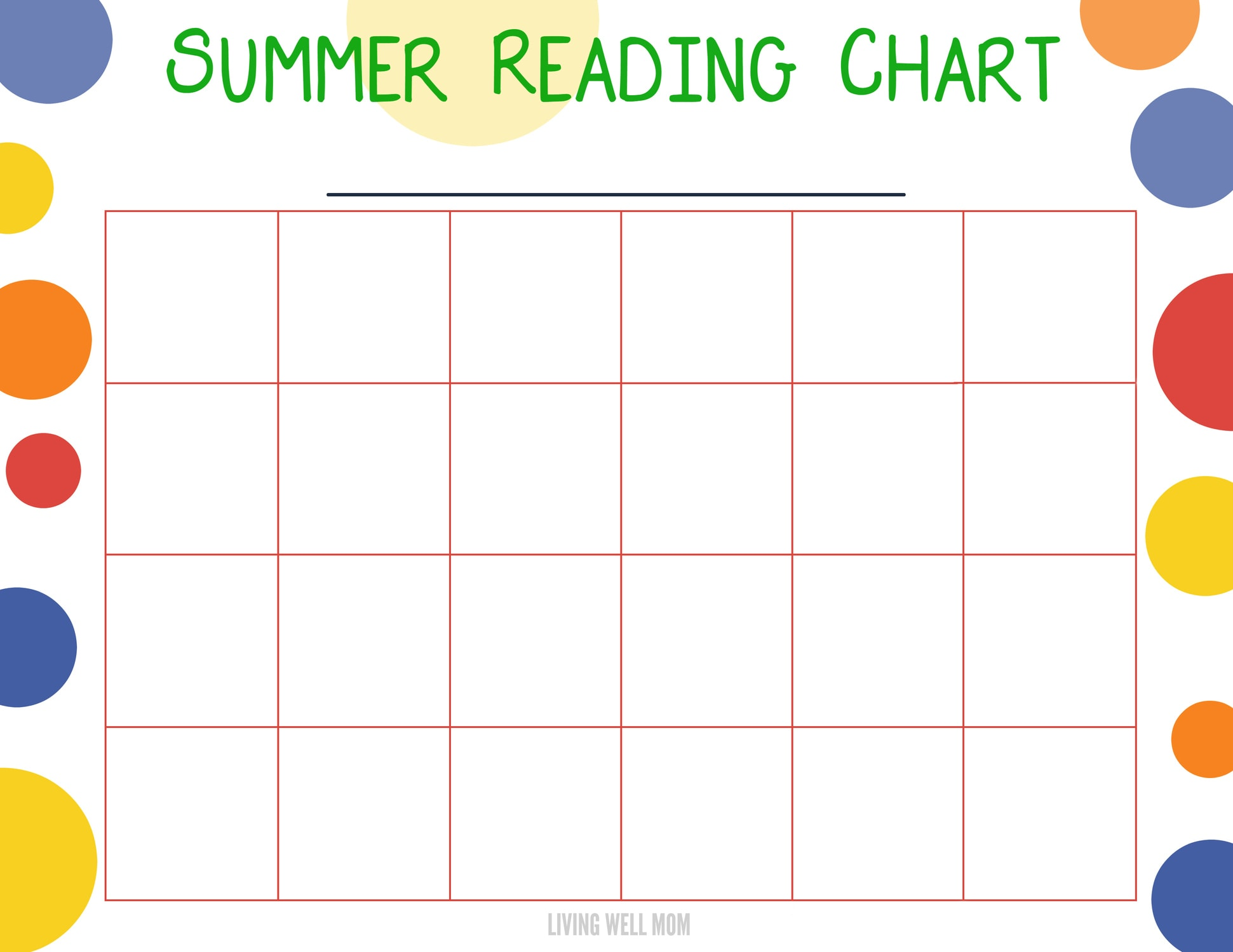 Summer Reading Program for KidsFree Printable Chart