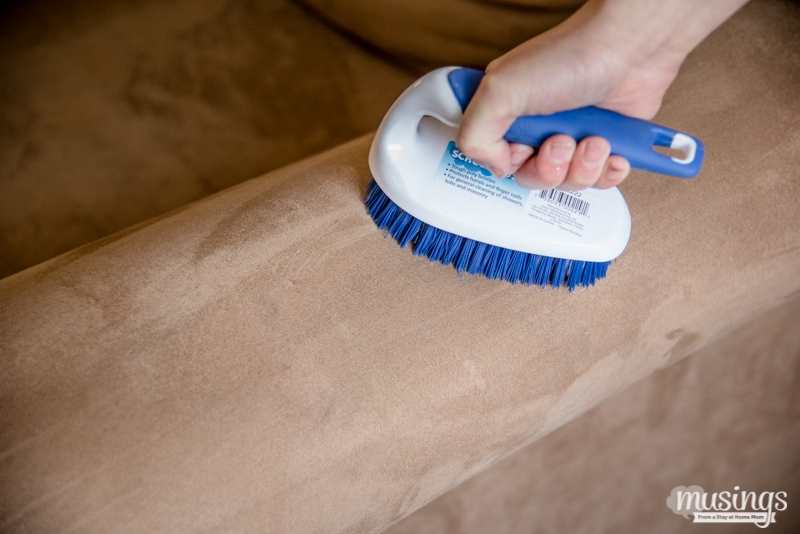 brushing cleaned brown microfiber couch