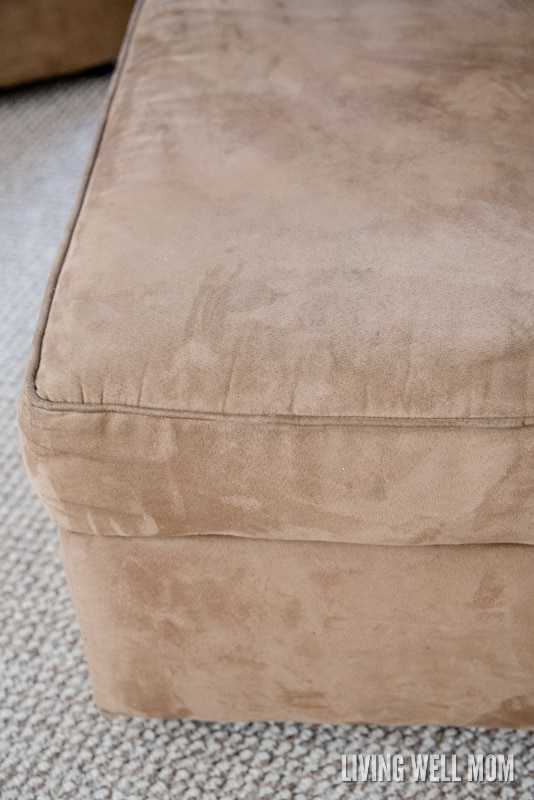 Got microfiber? Here's how to clean a microfiber couch without fancy cleaning supplies. Plus the secret cleaning trick to removing pen and marker stains!