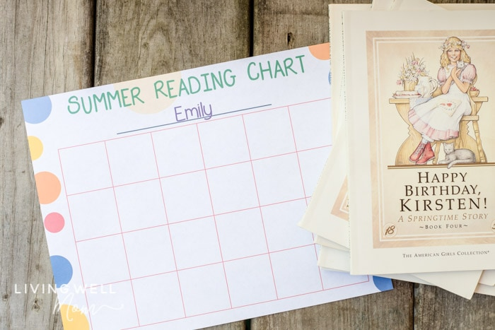 summer reading program with printable chart and books