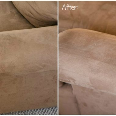 before and after of brown microfiber couch dirty vs clean