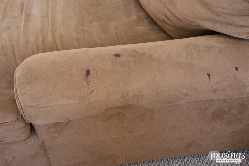 stain on brown microfiber couch
