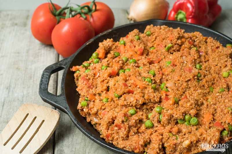 Savory Ground Turkey & Quinoa One Pot Dinner Recipe - This hearty dinner is healthy, gluten free, and loaded with vegetables and savory seasoning with a light tomato sauce.