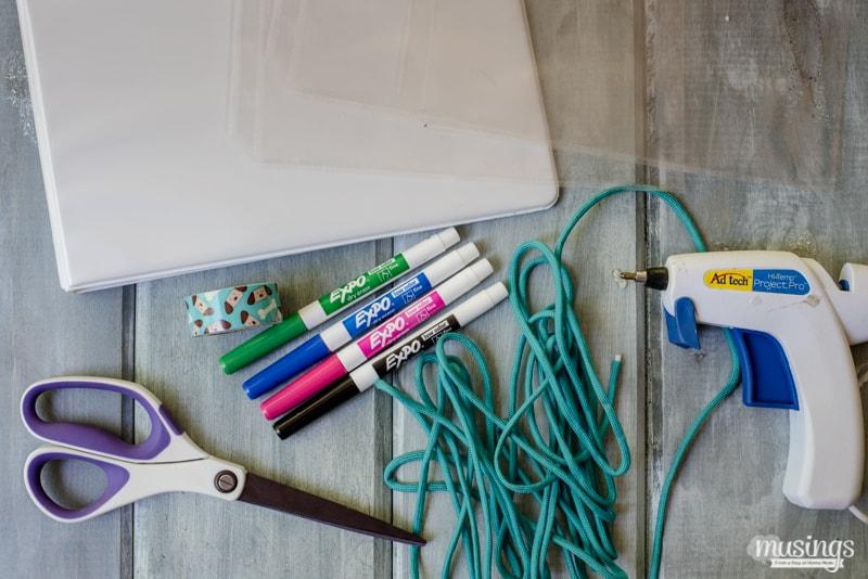 travel binder supplies - washi tape, cloth string, glue gun, scissors, expo markers