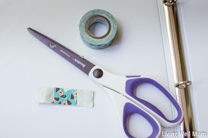scissors washi tape on binder