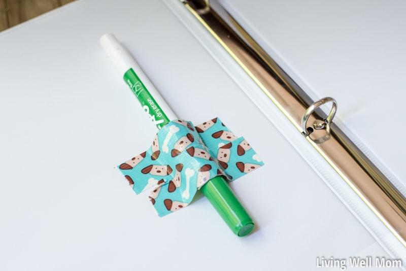 diy washi tape holder for expo dry erase marker