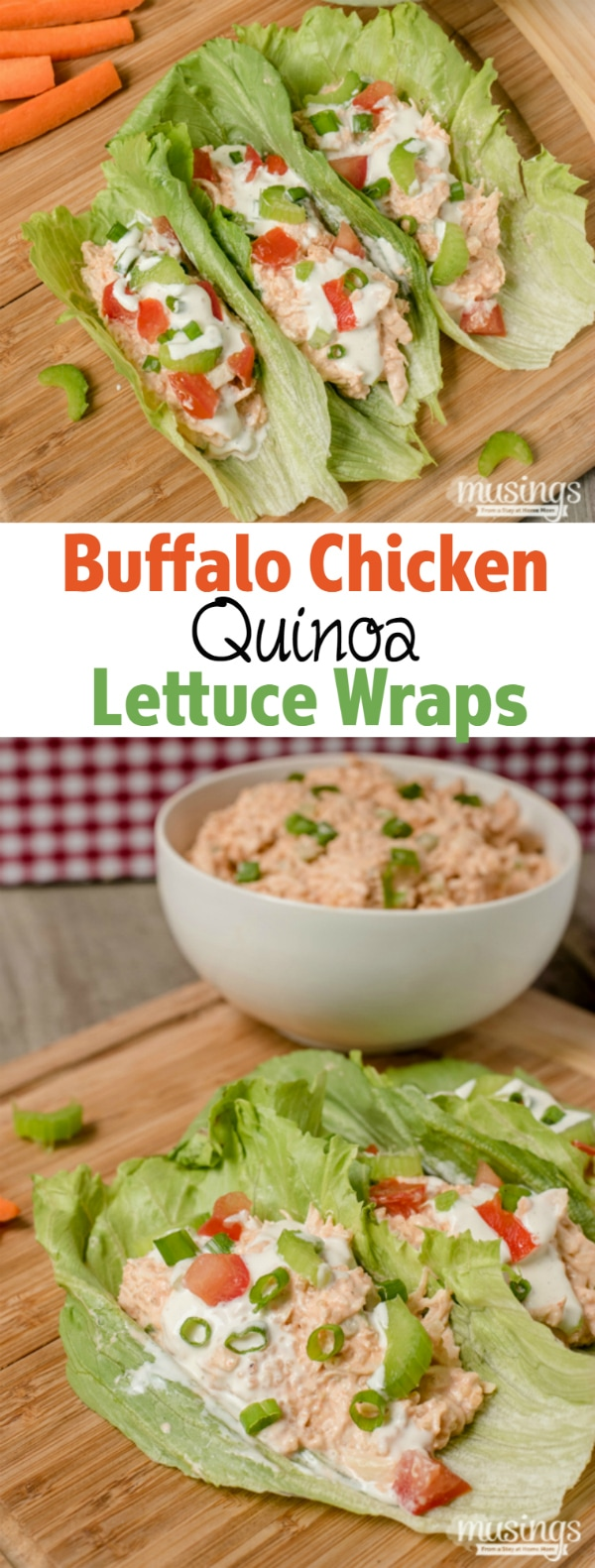 Buffalo Chicken Quinoa Lettuce Wrapsareaperfect lunch or quick and easy dinner; you'll love how spicy and tangy this deliciously low carb recipe is!