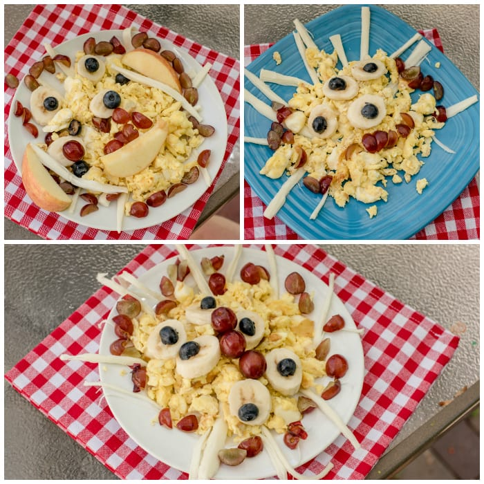 """This quick-and-easy Scrambled Eggs & Cheese Monster is a fun breakfast with a cheesy twist. You'll love that this recipe for kids is packed with protein and they'll love creating their own """"monster"""" with delicious fresh fruit!"""