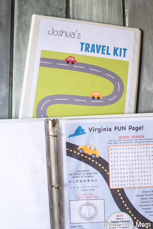 free printable road trip games with binder for kids