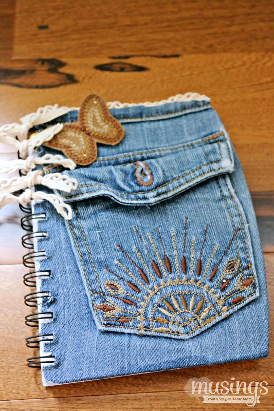 Denim Book Cover Diy ~ Diy back to school denim notebook musings from a stay at