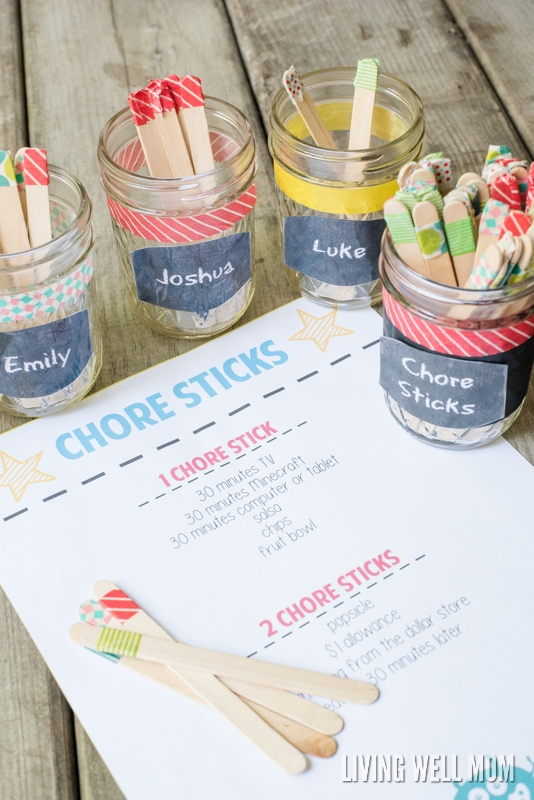 chore sticks for kids list with mason jars and washi tape wrapped popsicle sticks