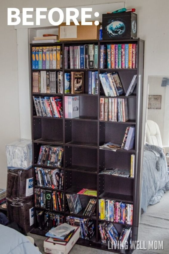 messy DVD storage shelves with lots of movies