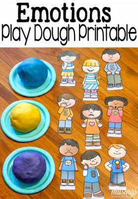 Play dough fun with a free printable emotions pretend play set.