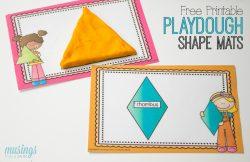 Preschool Learning with Playdough Shape Mats