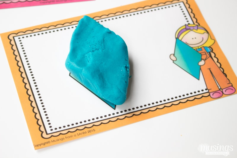with playdough and matching them to their playdough shape mats